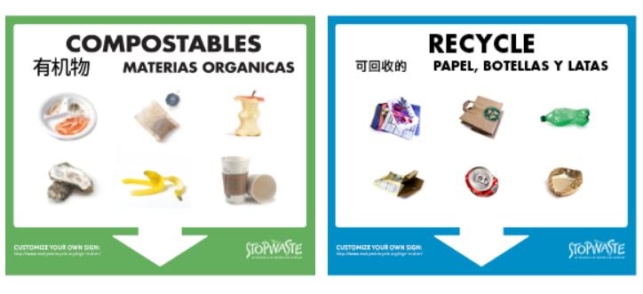custom recycling signs stopwaste home work school